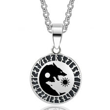Yin Yang Wolf Sun Moon Stainless Steel Pendant Necklace Balance Zen Meditation