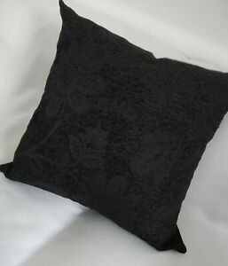 """Black Cushion Covers /complete Cushions 22"""" 24"""" 26"""" Quality Chenille  Set Of 2"""