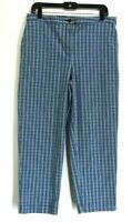 Eddie Bauer Women's Size 14 High Rise Waist Ankle Crop Capri Pants Plaid Blue