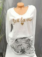 Italy Trend Damen langarm Shirt T-Shirt Weiß Shirt Blogger Cotton 38,40,42 NEU