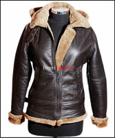 Ladies B3 Ginger / Brown Hooded Bomber Shearling Sheepskin Leather Flying Jacket