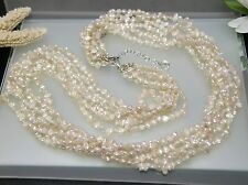 """Vintage 26""""+2"""" multi strands(6) Japan freshwater pearl necklace w/ Silver clasp"""