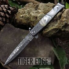 SPRING-ASSIST FOLDING POCKET KNIFE Tac-Force Damascus-Style Stiletto White Pearl
