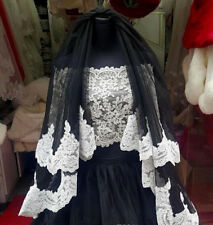 NEW GOTHIC BLACK WITH WHITE LACE TULLE BRIDAL VEIL WEDDING GOWN DRESS ULTRA RARE