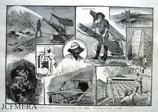 """Antique Engraved Print 1885 - """"Hydraulic Gold-Mining in the Australian Alps"""""""