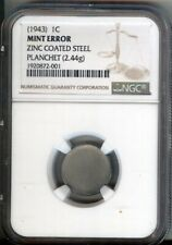 1943  STEEL CENT ZINC COATED STEEL - BLANK PLANCHET  LINCOLN CENT - NGC
