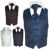Page Boy Wedding Waistcoat Cravat Set in Blue, Purple, Ivory, Red, Boys Suit