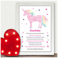 Personalised Flower Girl Bridesmaid Unicorn Thank You Gifts Wedding Party Poems