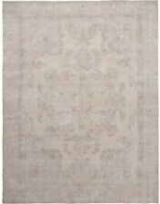 Antique Muted Beige Geometric Tabriiz Distressed Area Rug Hand-Knotted Wool 9x12