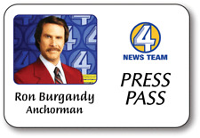 RON BURGANDY ANCHORMAN MOVIE NAME BADGE PROP HALLOWEEN COSTUME SAFETY PIN BACK
