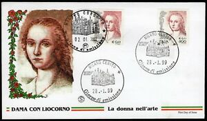 Repubblica, FDC Filagrano - 0,41 euro Donna nell'arte, 02/01/2002