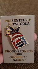 Vintage Goodwill Games White 1990 Seattle Pepsi Sponsor enamel pin