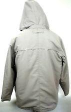 Roundtree Yorke Men's Beige Super Warm Winter Coat Size Large Zip Up Hooded