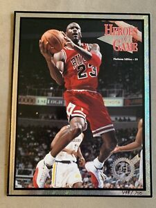 Michael Jordan Heroes of The Game Plat Edition /750 Uncut Rookie Cards 97 Tiger