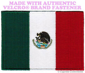 MEXICO NATIONAL FLAG PATCH MEXICAN EMBROIDERED PARCHE w/ VELCRO® Brand Fastener