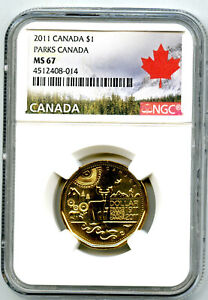 2011 CANADA $1 PARKS CENTENNIAL LOONIE NGC MS67 HIGH GRADE LANDSCAPE LABEL
