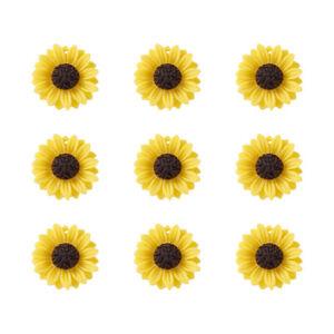 20pc Yellow Flatback Resin Sunflower Pendants Mini Charms Crafting Making 24x7mm
