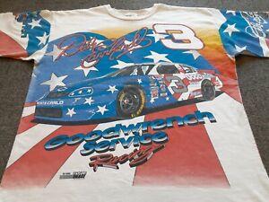 VTG 90s 1996 NASCAR #3 Dale Earnhardt USA Flag All Over Print T Shirt X-Large XL