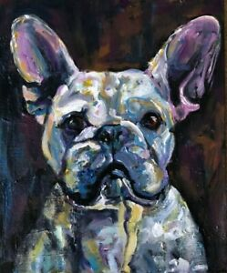 FRENCH BULLDOG DOG portrait original OIL PAINTING on wooden canvas panel