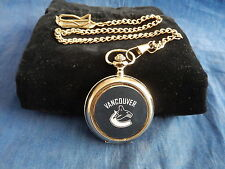 VANCOUVER CANUCKS ICE HOCKEY NHL CHROME POCKET WATCH WITH CHAIN (NEW)