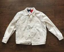 Tommy Hilfiger Jeans 90s Logo Denim Jacket White Size Large Brand New