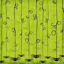 """K&Company 12"""" x 12"""" Scrapbook Paper Halloween Green Spider Flock Paper"""