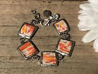 Recycled Broken Porcelain Jewelry, Orange Marble Bracelet SIZEABLE