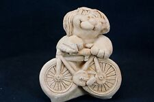 Vintage Terracotta Dog With Bike Figurine By Kersten Bros Co 1974 Back to Bikes