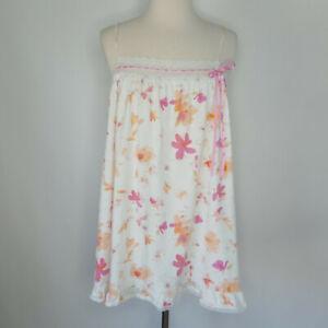 Victorias Secret Babydoll Nightie M Nightgown 100% Cotton Pink & Orange Floral