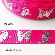 Ruban gros grain fuchsia Papillon effet brillant multicolore de 22 mm vendu au m