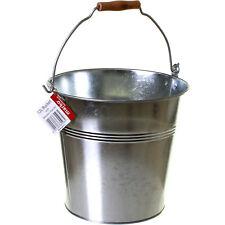 12 Litre Bucket Galvanised Metal Heavy Duty Fire Coal Ash Water Wooden Handle