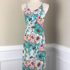 HM Women's Hibiscus Floral Open Back Maxi Dress Sz 2