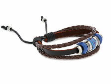 Fashion Leather Dark Brown Adjustable Bracelet with Beads and Charms.