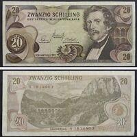 1967 Austria 20 Schilling Vintage Paper Money Banknote