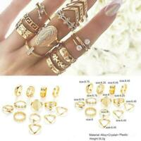 13Pcs/Set Women Boho Punk Gold Midi Finger Ring Crystal Knuckle Rings Jewel L9P4