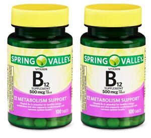 2 Spring Valley Vitamin B12 200 Tablets Nervous & Cardiovascular System Support