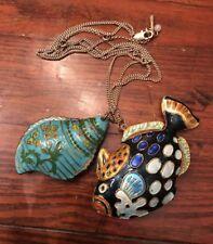 Vintage Cloisonné Signed Kenneth Cole Necklace Fish Sea Shell Enamel Gold Tone