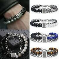 Retro Men's Stainless Steel Natural Stone Tiger Eye Beads Lucky Bracelet Bangle
