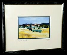 """French Framed Pastel Painting """"Paysage aux Iles"""" by Anne-Marie Ruggeri (TaE)"""