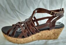 Office Womens Ladies Brown Leather Wedge Heel Summer Sandals Size 7/40 New