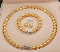 """Prertty AAA+ 10MM Gold SOUTH SEA SHELL PEARL NECKLACE 18""""+Bracelet+Earring Set"""