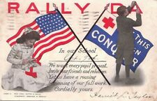 Postcard Patriotic Rally Day Nurse Flag 1910