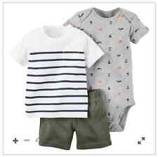 Carter's 3-Piece Bodysuit & Shorts Set (STRIPES & ANCHOR)