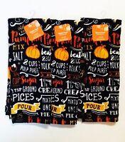 Fall THANKSGIVING Kitchen Towel Set PUMPKIN PIE RECIPE *3 PACK*  MITT *FAST SHIP