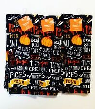 Fall THANKSGIVING Kitchen Towel Set PUMPKIN PIE RECIPE *3 PACK*  MITT *FAST SHIP