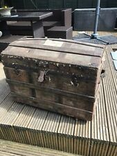 Antique Victorian Wooden Dome Top Travel Storage Trunk Chest has train labels