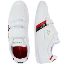 Lacoste Men Shoes Misano Strap 0120 1 White Gold Leather Casual Sneakers NEW