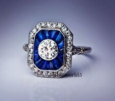 Off White Moissanite & Blue French Art Deco Engagement Ring 925 Sterling Silver