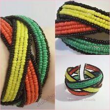 Rasta. Reggae, Jamaica, Marley, Seed Bead Cuff Bracelet. One Size Fits Most  A51