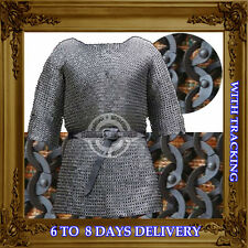 Chainmail Shirt Chain Mail Haubergeon 9mm Flat Riveted wd  Washer Medieval Armor